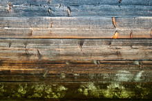 Weathered Wood Plank Wall Background With Natural Green Moss