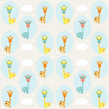 Children's Seamless Pattern With Giraffes And Clouds. Vector Design.