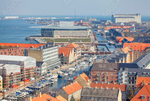 Aerial view of Copenhagen and water canals Wallpaper Mural