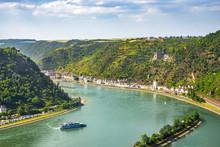 Blick Von Loreley Ins Mittelrheintal, Deutschland