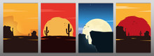 Set Of Wild West Landscapes With Mountains And Cactus. Sunset At The Texas. Vector Illustration.