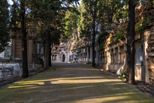 Perspective View Of The Curved Footpath With Graves And Crypts On The Montjuic Cemetery In Sunny Day, Barcelona, Catalonia, Spain