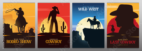 Set of Cowboy banners Canvas Print