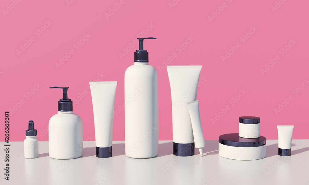 Fototapeta 3d render mockup of cosmetic bundle for skin hair care. White plastic bottles and tubes with black caps in row on bright millenial pink backdrop. Branding identity template.