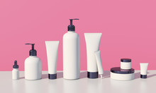 3d Render Mockup Of Cosmetic Bundle For Skin Hair Care. White Plastic Bottles And Tubes With Black Caps In Row On Bright Millenial Pink Backdrop. Branding Identity Template.