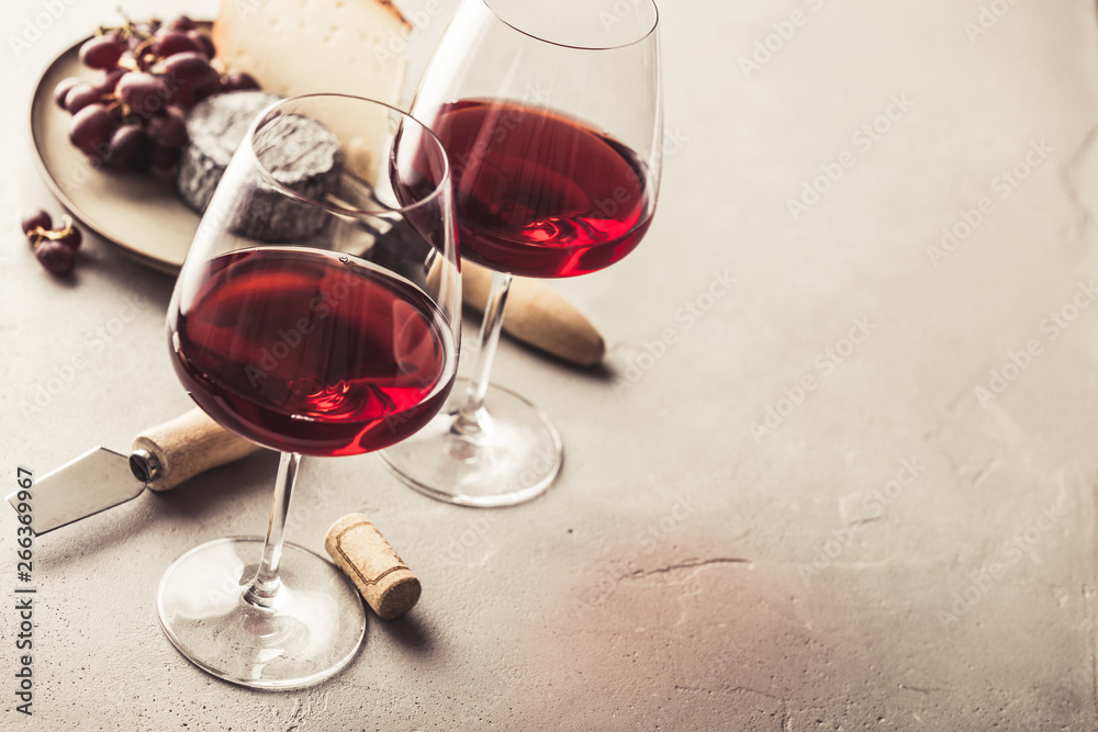 Fototapety, obrazy: Red wine and cheese on concrete background, copyspace