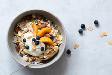 Bowl Of Homemade Muesli With S...