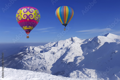 Poster Balloon Colorful balloons flying over snow-covered mountains