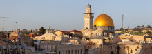 View Of The Dome Of The Rock And The Western Wall In The Old City During A Sunny Evening Before Sunset. Taken In Jerusalem, Israel.