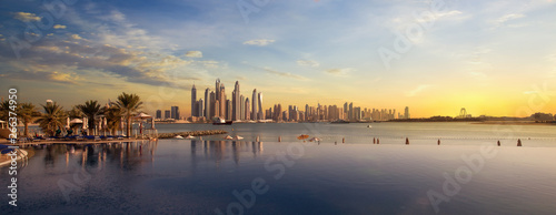 Photo  Panorama of Dubai Marina Skyline at sunset United Arab Emirates