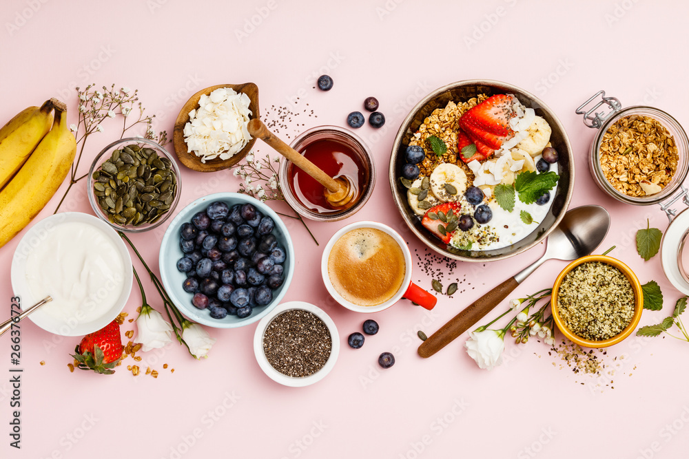 Fototapety, obrazy: Healthy breakfast set with coffee and granola