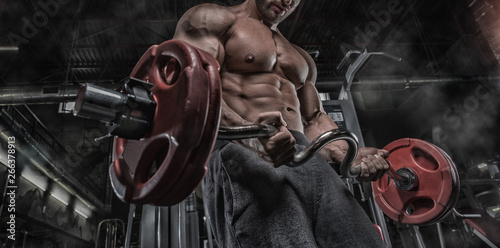Fotografie, Obraz  Sexy muscular man in gym, shaped abdominal