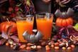 Halloween pumpkin orange cocktail. Festive drink