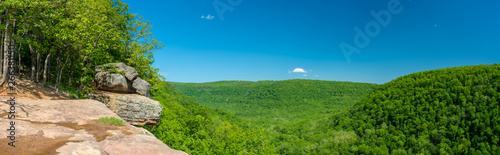Whitaker Point Landscape view from rock cliff hiking trail, Ozark mountains, nwa northwest arkansas - 266381150