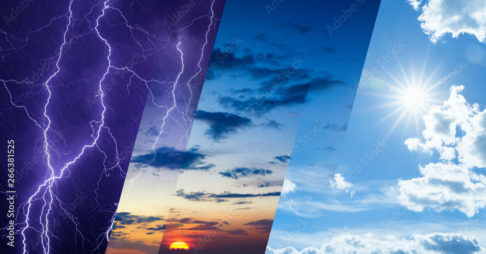Fototapety, obrazy: Weather forecast concept, collage of variety weather conditions