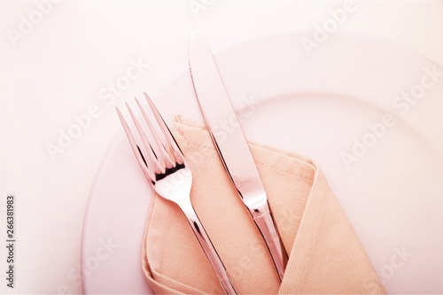 Poster de jardin Nature Table Setting with Plate, Fork, Knife and Napkin