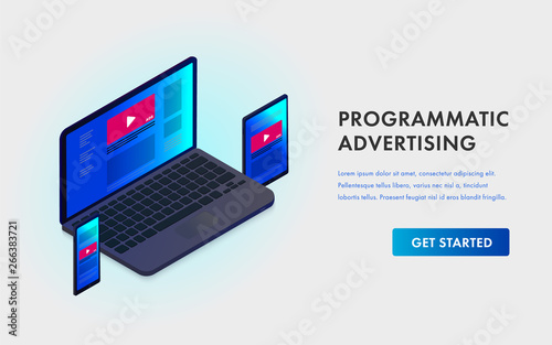 Photo  Programmatic Advertising and Native targeting marketing isometric template landing page - Cross-device and multi target audience ads strategy