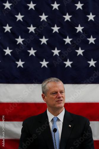 Massachusetts Governor Charlie Baker speaks to incoming U S