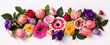 Creative layout made with beautiful flowers on white background.