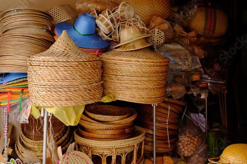 Fotobehang Zuivelproducten Basket Wicker Thai Handmade Woven Bamboo Texture Background Design Wicker