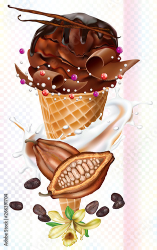 Fotografie, Obraz Shocolate Icecream in waffles cones and cocoa fruits