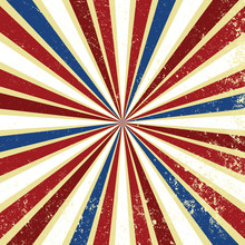 Red White And Blue Vintage Background With Sunburst Or Starburst Retro Design With Grunge Texture. Striped Radial Pattern For July 4th, Memorial Day, Or Veterans Day Patriotic Backgrounds.