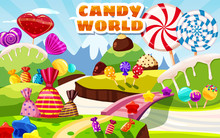Sweet Candy World Fairy Landscape, Panorama. Sweets, Candies Caramel