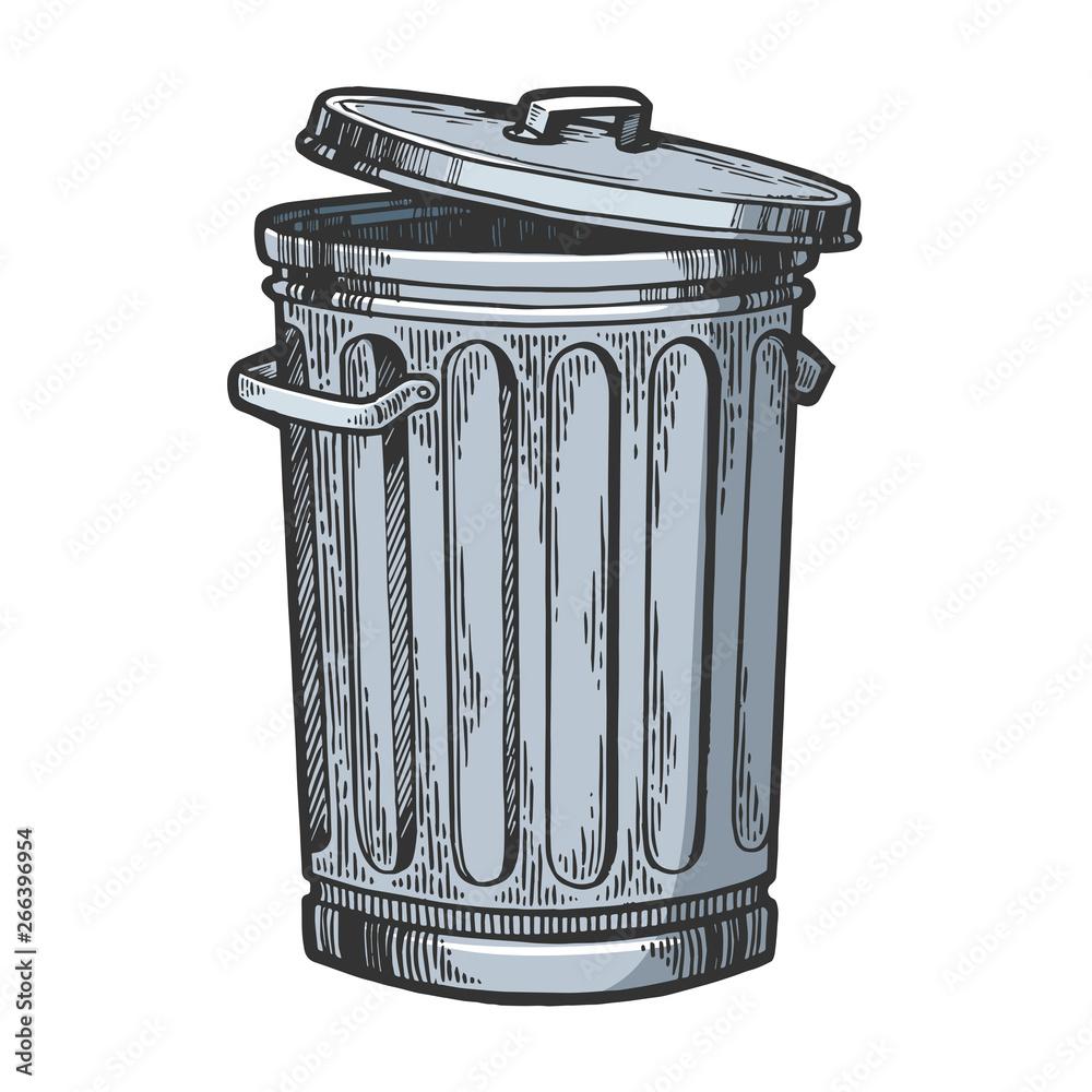 Fototapeta Metal trash can color sketch engraving vector illustration. Scratch board style imitation. Hand drawn image.