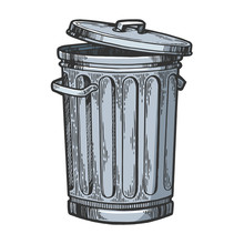 Metal Trash Can Color Sketch E...