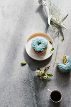 Blue Glaze Coconut Donuts