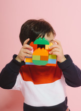 Little Kid With Camera Made From Blocks
