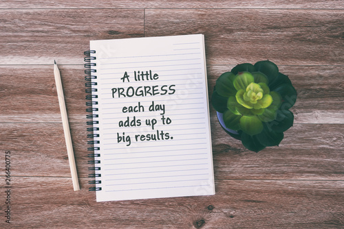 Photo  Inspirational and Motivational quotes - A little progress each day adds up to big results