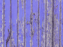 Peeling Lavender Paint On Old Wooden Wall