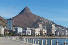 Cape Town Devils Peak View From Seapoint Promenade