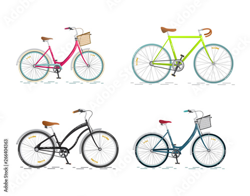 Fototapeta Set sports bicycle. Flat bike isolated on white background. Healthy lifestyle and city vehicle. Vector illustrations obraz
