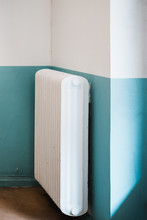 Heat Radiator On A Blue And Wh...