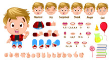 Cartoon Blond Boy Constructor For Animation. Parts Of Body, Set Of Poses.