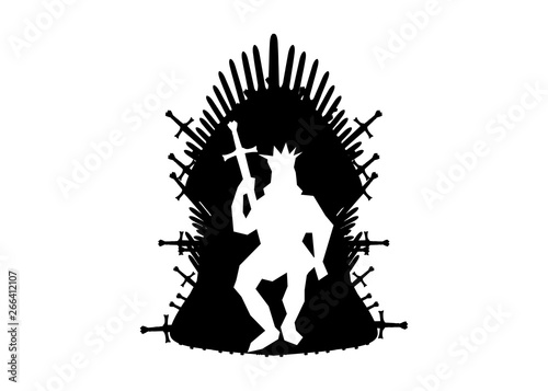 Obraz na plátně  Silhouette iron throne of Westeros made of antique swords or metal blades