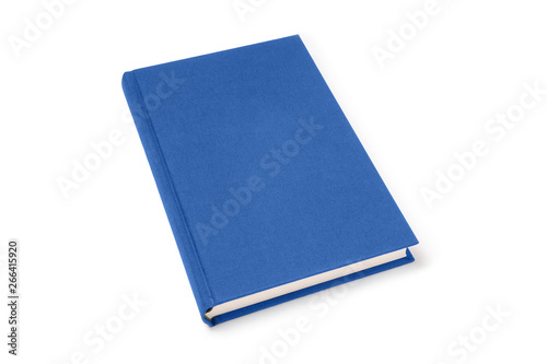 Fototapeta Blue lying hardcover book isolated, perspective view