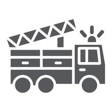 Fire Truck Glyph Icon, Transpo...