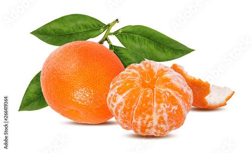 Tangerine mandarin fruit isolated on white background - 266419364