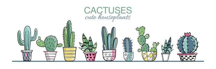 Vektorski set šarenih biljaka kaktusa u loncima u boji s obrisima. Egzotične i tropske biljke - Kaktusi za dizajn izolirani na bijeloj pozadini. Ručno nacrtani kaktus za dizajn. Vector EPS10