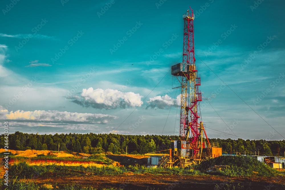 Fototapety, obrazy: Land oil drilling rig blue sky