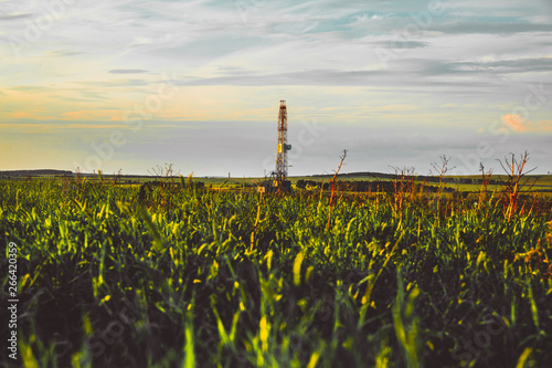 Land oil drilling rig in a green field