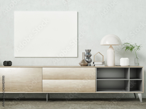 Fotografering Mock up poster, modern sideboard with decoration, 3d render, 3d illustration