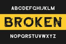 Broken Glitch Font. Modern Sans-serif Alphabet With Distortion. Vector Font With Broken Effect.