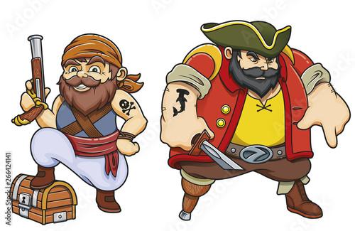 Fotografie, Tablou  Colored cartoon sea pirates vector illustration set of two