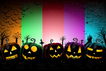Halloween Colorful Banner Poster - Template