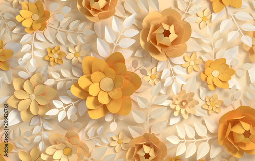 Fototapety 3d   fototapeta-na-wymiar-paper-elegant-pastel-colored-flowers-valentine-s-day-easter-mother-s-day-wedding-card-blooming-wall-background-3d-render-digital-spring-or-summer-flowers-illustration-in-paper-art-style