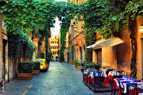 Vászonkép Beautiful ancient street in Rome lined with leafy vines and cafe tables, Italy